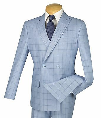 Men's Powder Blue Windowpane Double Breasted 4 Button Slim-Fit Suit NEW