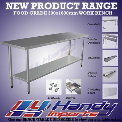 1000 x 390mm STAINLESS STEEL 304 FOOD PREP NARROW WORK BENCH KITCHEN SLIM TABLE
