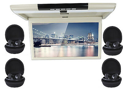 """17.3"""" Car Flip Down Monitor With 4 pcs IR Earphone for Touring car Camper MPV"""