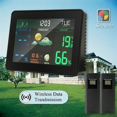 Wireless Smart LCD Weather Station Clock Calendar Hygrometer Thermometer Meter
