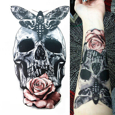 3D Temporary Tattoos Red Rose Skull Body Art Tattoo Sticker Fake Tattoo Sticker