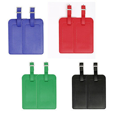 2pcs PU Leather Travel Luggage Tags Suitcase Baggage Bags Name Address Label ID