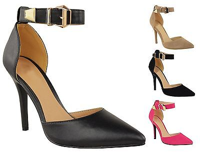 New Womens Stiletto Heel Suede-PU Buckled Ankle Strap Pointed Toe Court Shoes