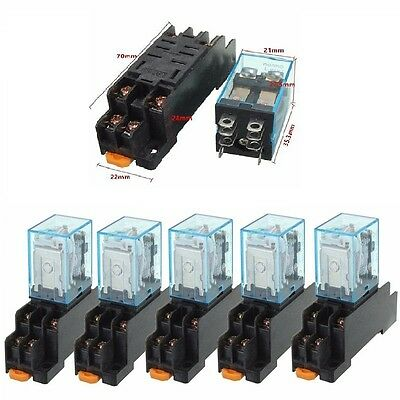 5 PCS 12V DC Coil Power Relay LY2NJ DPDT 8 Pin HH62P JQX-13F With Socket Base