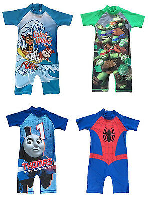 Boys All In One Swimsuit Costume Swim wear TURTLES PAW PATROL THOMAS SPIDER-MAN