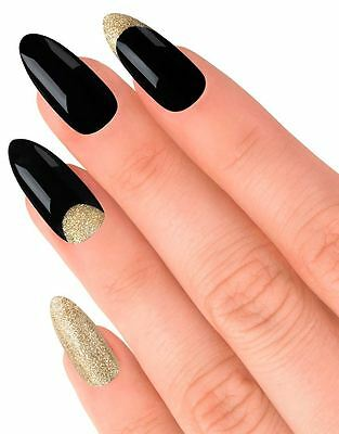 House Of Holland False Nails - Glitterbug Black & Gold (24 Nails)
