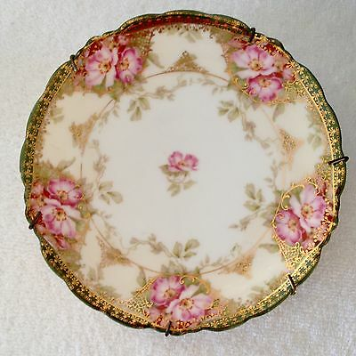 "Antique J.C. MALMAISON Germany 6 3/4"" Plate Pink Flowers Green Stenciled Rim"