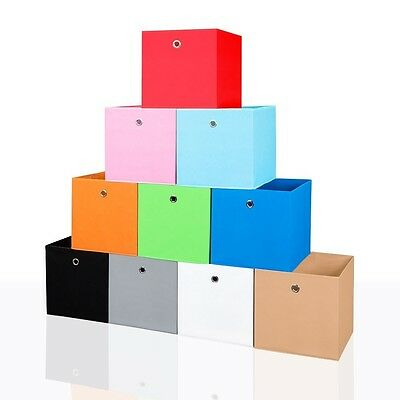 6er Set Faltbox in Grau 34 x 34 cm Faltkiste Regalkorb Regalbox Kinderbox