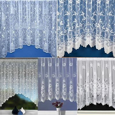 Luxury Net Curtain Jardiniere Ready Made White Lace Curtains All Sizes