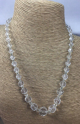 Vintage Art Deco Necklace Glass faceted graduated Crystal Bead Choker CN 313