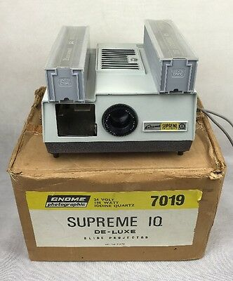 Boxed Vintage Gnome Supreme IQ 7019 Slide Projector with Magazines