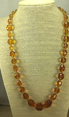 Vintage Art Deco Necklace Glass Faceted Topaz bead & Sterling Filigree Clasp
