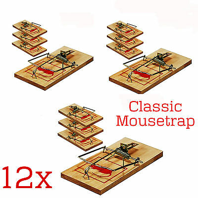 12 X Wooden Mouse Traps Traditional Classic Pest Control Rodent Bait