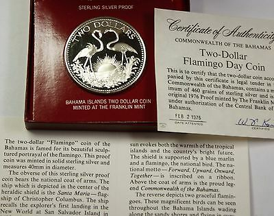 1975 Bahamas $2 Sterling Silver Proof Flamingo Coin Original Box Coa Included North & Central America