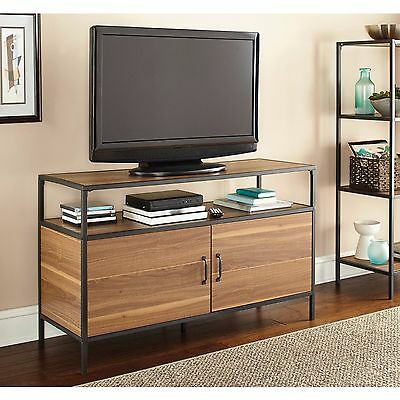 """Warm Ash Wood Finish and Metal TVs to 50"""" Industrial Stand 2 Door Media Console"""