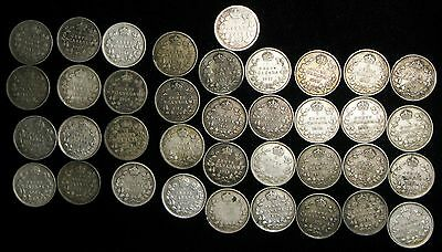 lot of 37 Canada 1897 -1920 5 cents silver