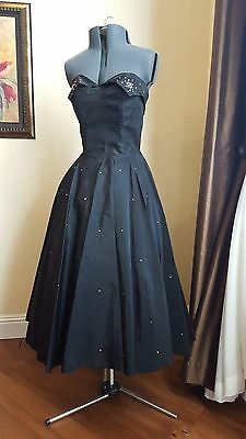 Vintage 40s 50s Party Prom Cocktail Dress Black with Rhinestones xs