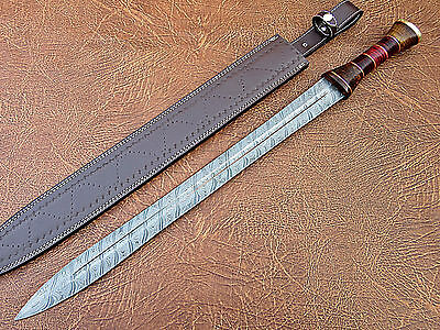 Super Cutlery handmade Damascus Roman Style Sword Brass Bolster and Color sheet
