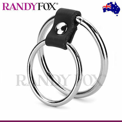 NEW Randy Fox - Metallic Double Cock And Ball Ring