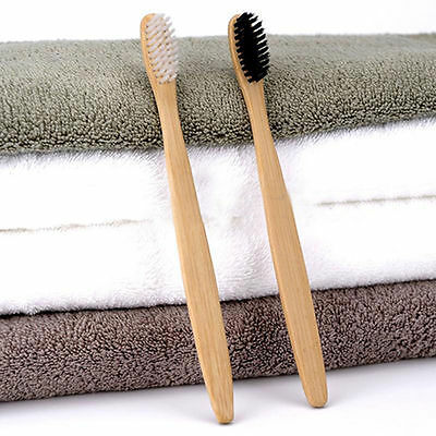 2-12PCS Perfect Bamboo Toothbrush Oral Care Healthy Medium Black/White Bristles