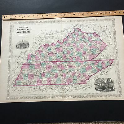 Rare 1864 Antique Map Of Kentucky And Tennessee By Johnson Original Colors Large