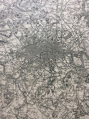 """1870's Colton Original Rare Map Of """"The Environs Of London""""."""