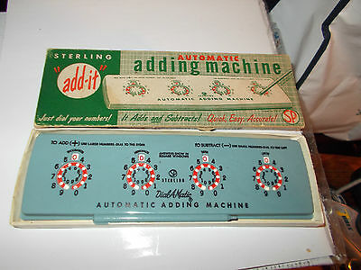 Vintage Sterling Automatic Adding Machine 565-In Box-Plastic Pick-Usa-Dialamatic