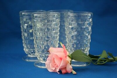 Vintage Jeannette Glass Clear  Cubist Tumbers Set Of 4