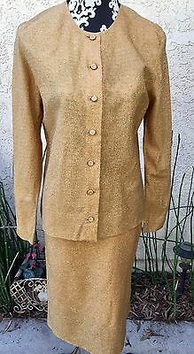Vintage 50s Cannady Creations Hollywood Gold Lurex Suit Sz M Pencil Skirt EVC