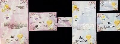 NEW Kids Mi Bautizo Baptism Paper Invitation Invitacion Pink Blue 25 pc set