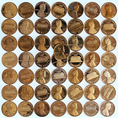 1968-82 Lincoln Cent Copper Proof Lot of 50 Coins With Problems Rejects US Penny