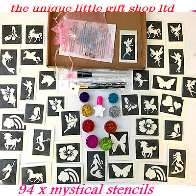 GLITTER TATTOO KIT MYSTICAL unicorn 94 Large stencils 8 glitters glue brushes