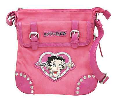 Betty Boop Pink Leather Ladies Hip Bag Cross Body Purse with Crystal Rhinestones