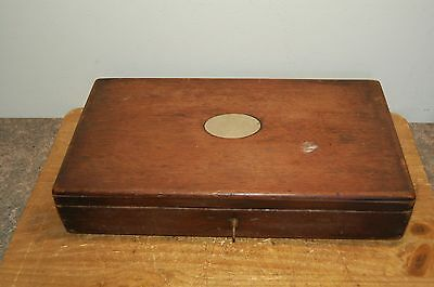 Vintage Antique Wood 3 Hinged Box with Lock and Key (F37)