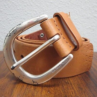 MICHAEL KORS Vintage Brown Tanned Saddle Leather LUGSIL Belt Nordstrom S 555621