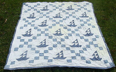 """Vintage all hand stitched & quilted Sailboat crib quilt, 49"""" x 42"""", no reserve"""