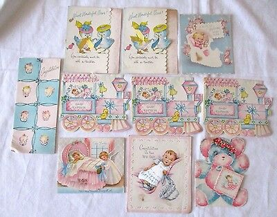 Lot of 10 Vintage Congratulations on New Baby Cards 1950s