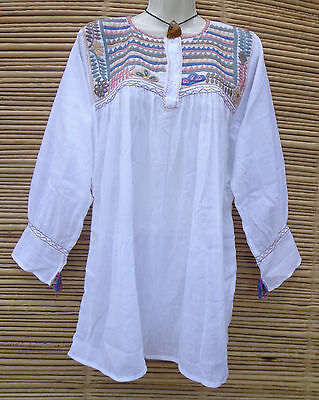 Embroidered Mexican Women's Peasant Blouse Huipil Tunic Frida Kahlo Style M/L