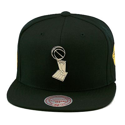 8525a29dd1eb9 Mitchell   Ness Golden State Warriors Snapback Hat All BLACK Trophy 2015  Finals