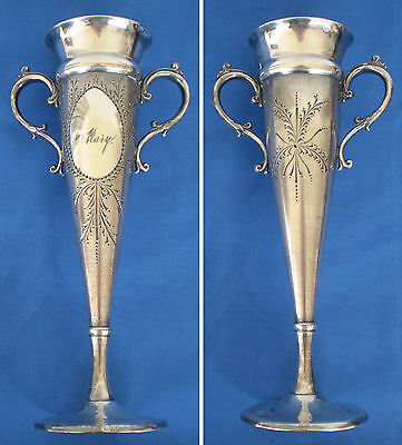 """Antique Aurora Silver Victorian Loving Cup TROPHY Trumpet Vase Engraved """"MARY"""""""