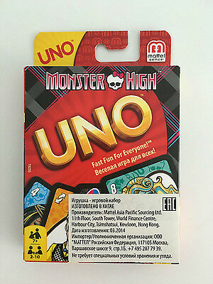 GENUINE Monster High UNO CARDS Family Fun Playing Card Educational Board Game