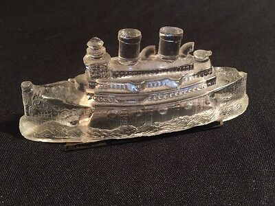Vintage Glass Old Time BATTLESHIP SHIP CONTAINER DISPENSER