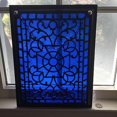Cobalt Blue Stained Glass Heating Register Black Metal Grate-Up Cycled      #953