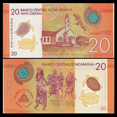 """Nicaragua 20 Cordobas, 2014(2015) Polymer, UNC """"TURTLE""""  WITH  FREE SHIPPING"""