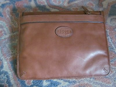 Fossil Brown Leather Bag Wallet Or Passport