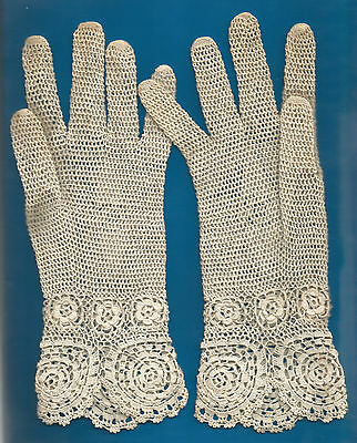 """Vintage Crochet Gloves 10"""" Length Great Condition"""