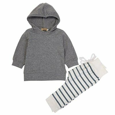 0-18M Newborn Baby Boy Girl Autumn 2Pcs Hooded Tops Blouse+Striped Pants Outfits