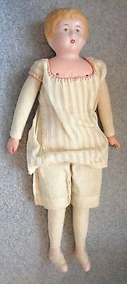 antique German painted tin head Minerva doll size 1