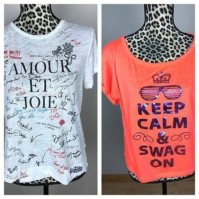 J.Crew + Fresh Brewed Women Top Lot Of 2 Size M Graphic Tee Cropped Summer