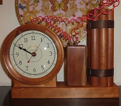 J&j Beall Wooden Clock Dynamite Explosives Theme Newark, Ohio, Usa 1980